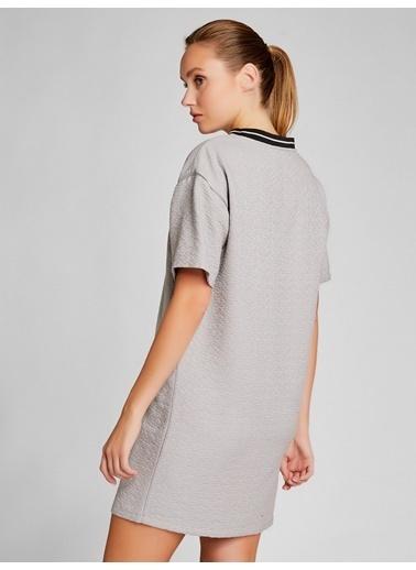 Vekem-Limited Edition Sıfır Yaka Kısa Kollu Mini Elbise Gri